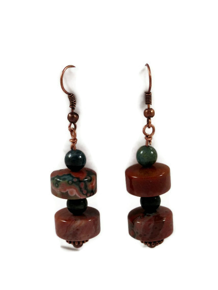 Earrings, Ocean Jasper Gemstones with Antique Copper Fish Hooks