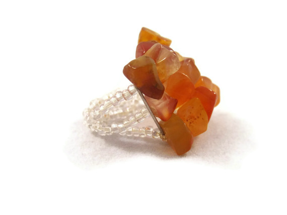 Ring, Amber Gemstone Adjustable Ring with Three Strands and Clear Seed Beads
