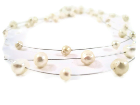 Necklace, Freshwater Pearls, Natural Cream Pearls, Multi Strand Illusion Necklace