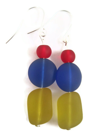 Earrings, Red Blue Yellow Sea Glass, Beach Glass Earrings, Disney Colors, School Colors