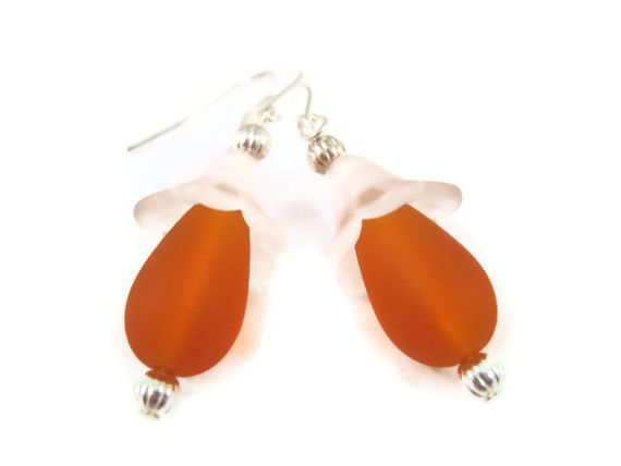 Earrings, Orange Beach Glass with Clear Lucite Flower Dangling from Silver Fish Hook Earrings