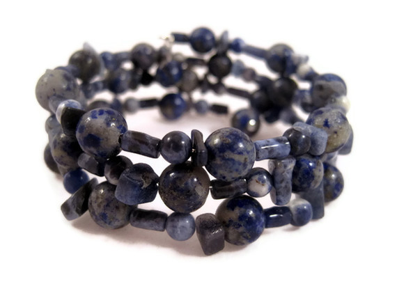 Bracelet, Adjustable Blue Lapis and Solidate Bracelet, Wire Wrapped Bracelet, Dark Blue, Light Blue